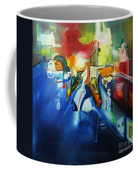 Colorful Coffee Mug featuring the painting All At Once by Jeff Barrett