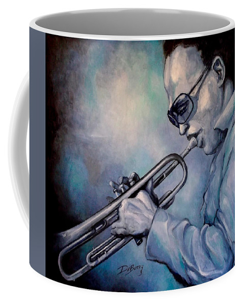 Glecee Limited Edition Print Of Miles Davis Coffee Mug featuring the painting All Blue Print by Lloyd DeBerry