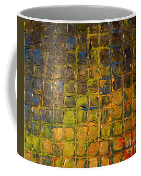 Dimensional Coffee Mug featuring the painting All Boxed In by Paulette B Wright