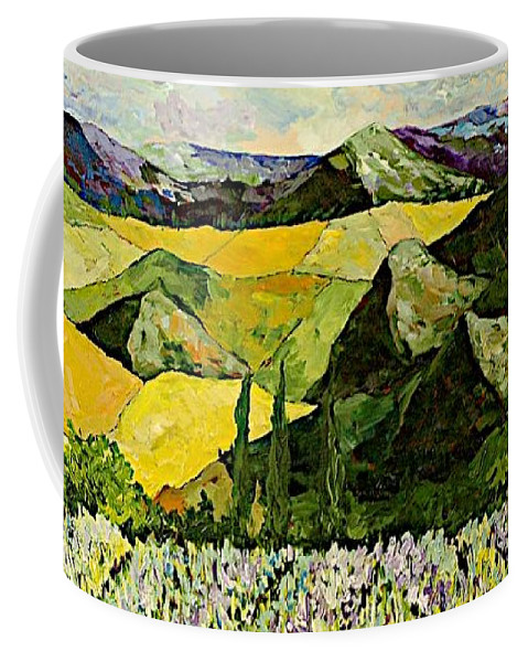 Landscape Coffee Mug featuring the painting All Day Long by Allan P Friedlander