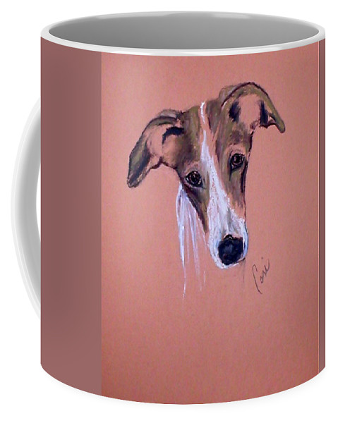 Whippet Coffee Mug featuring the drawing All Ears by Cori Solomon