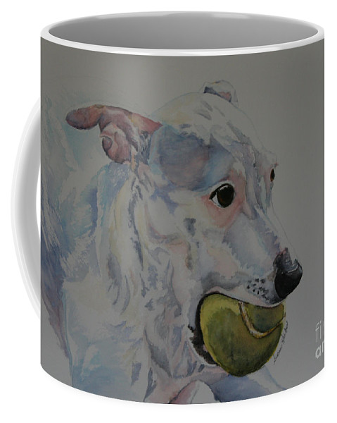 Dog Coffee Mug featuring the painting All Mine by Susan Herber