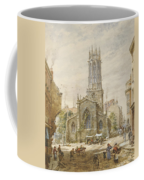 All Saints Pavement Coffee Mug featuring the painting All Saints by Louise Ingram Rayner