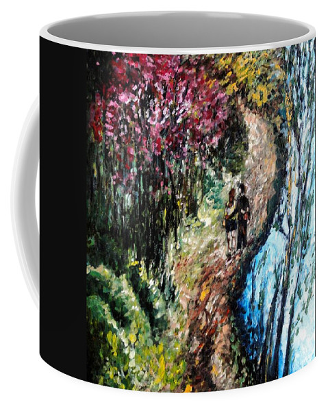 Lake Coffee Mug featuring the painting Alley By The Lake by Harsh Malik
