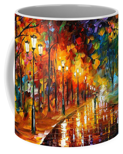 Art Gallery Coffee Mug featuring the painting Alley Of The Memories - Palette Knife Oil Painting On Canvas By Leonid Afremov by Leonid Afremov