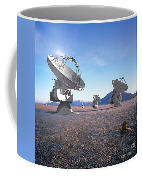 A Vision Of The Near-future Alma Antenna Array. Computer-generated Models Of Antennas Were Superimposed On A Real Photograph And Adjusted For Perspective And Lighting. Coffee Mug featuring the photograph Alma Vision by Paul Fearn