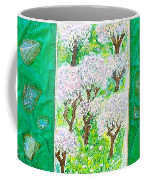Augusta Stylianou Coffee Mug featuring the painting Almond Trees And Leaves by Augusta Stylianou