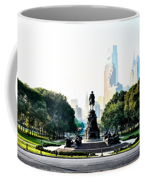 Benjamin Coffee Mug featuring the photograph Along The Benjamin Franklin Parkway In Philadelphia by Bill Cannon
