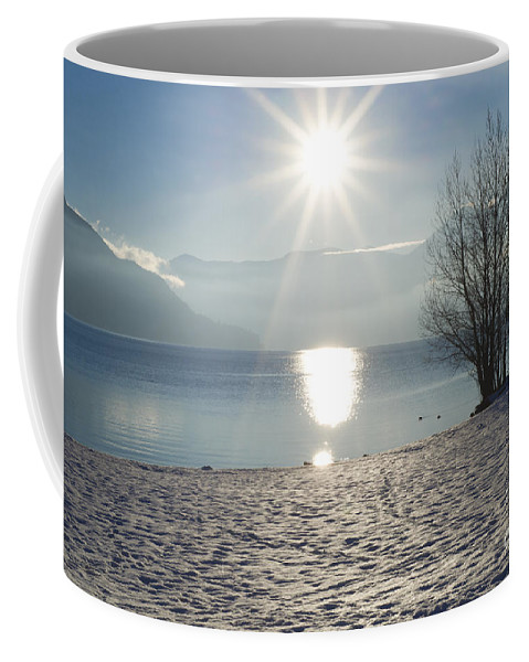 Lake Coffee Mug featuring the photograph Alpine Lake With Snow by Mats Silvan