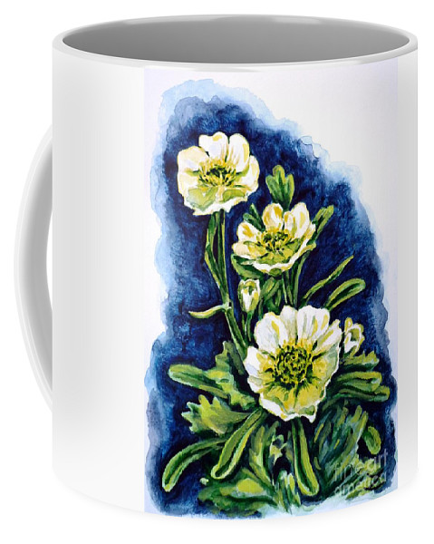 Alpine Ranunculus Coffee Mug featuring the painting Alpine Ranunculus by Zaira Dzhaubaeva