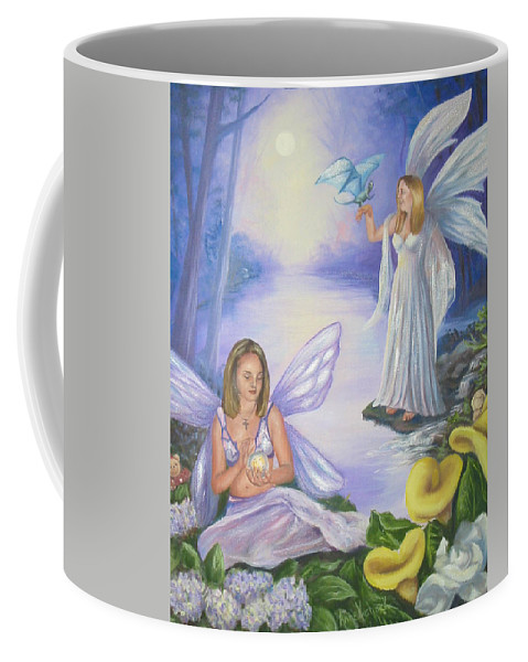 Fairies Coffee Mug featuring the painting Alyssa and Victoria by Anne Kushnick