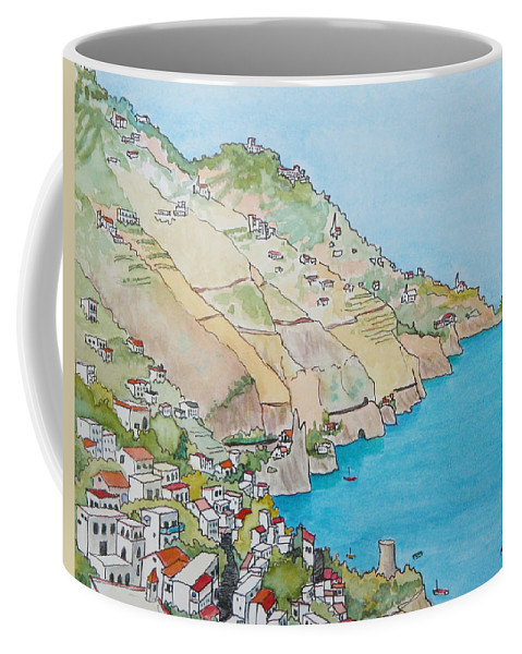 Landscape Coffee Mug featuring the painting Amalfi Coast Praiano Italy by Mary Ellen Mueller Legault