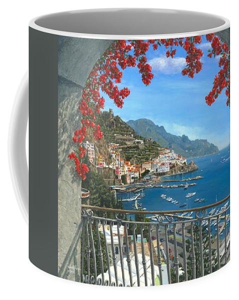 Landscape Coffee Mug featuring the painting Amalfi Vista by Richard Harpum