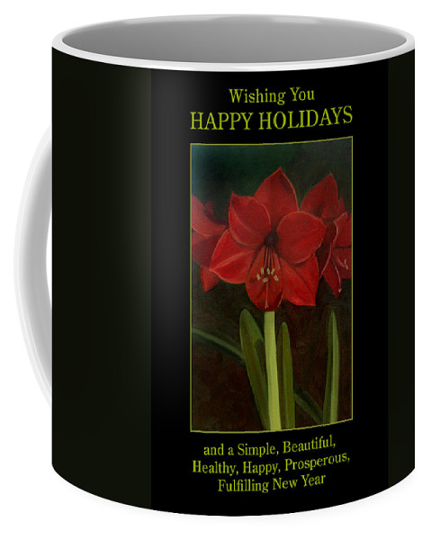 Amaryllis Coffee Mug featuring the painting Amaryllis Flower Holiday Card by Nancy Griswold