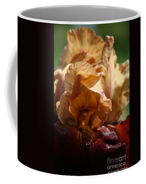 Flower Coffee Mug featuring the photograph Amber Iris Waves by Susan Herber