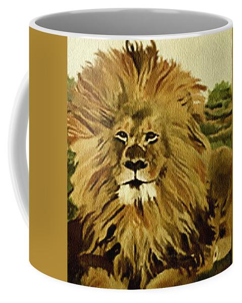 Lion Coffee Mug featuring the painting Amena by Fallon Franzen