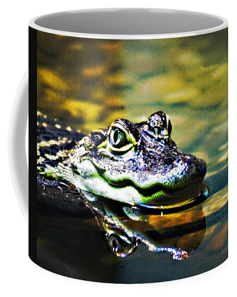 Rolling Hills Wildlife Adventure  Coffee Mug featuring the photograph American Alligator 1 by Walter Herrit