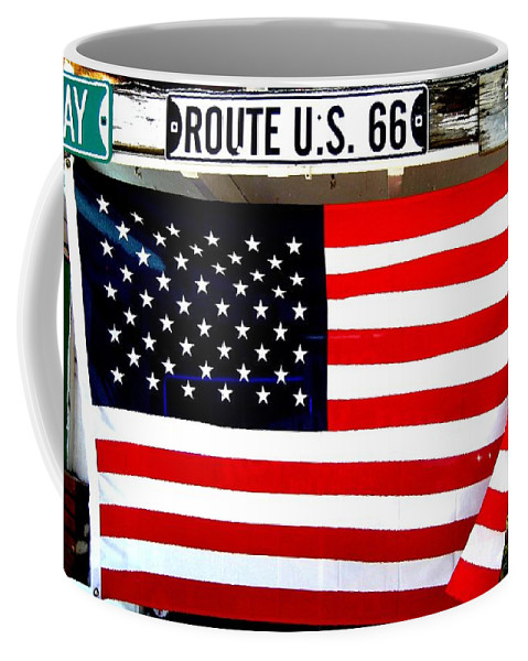 American Coffee Mug featuring the photograph American Flag Route 66 by Dany Lison