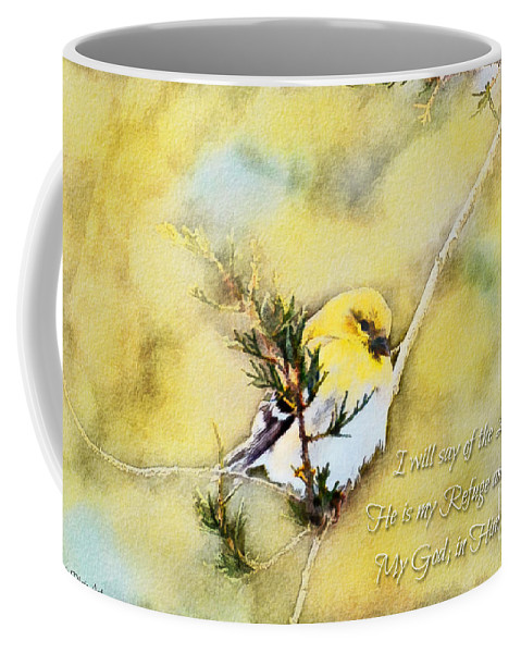 Branch Coffee Mug featuring the photograph American Goldfinch On A Cedar Twig With Digital Paint And Verse by Debbie Portwood