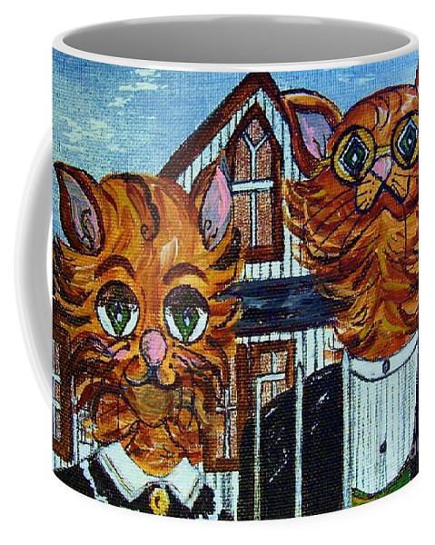 American Coffee Mug featuring the painting American Gothic Cats - A Parody by Eloise Schneider Mote