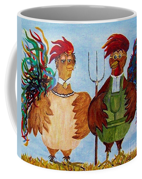 Rooster Coffee Mug featuring the painting American Gothic Down On The Farm - A Parody by Eloise Schneider