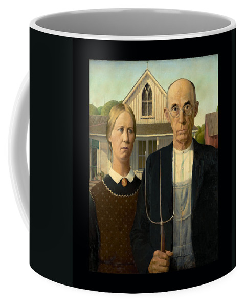 American Gothic Coffee Mug featuring the painting American Gothic Duvet by Grant Wood