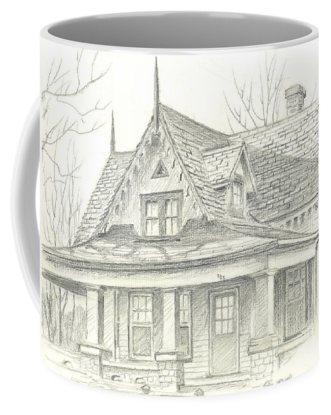 American Home Coffee Mug featuring the drawing American Home by Kip DeVore