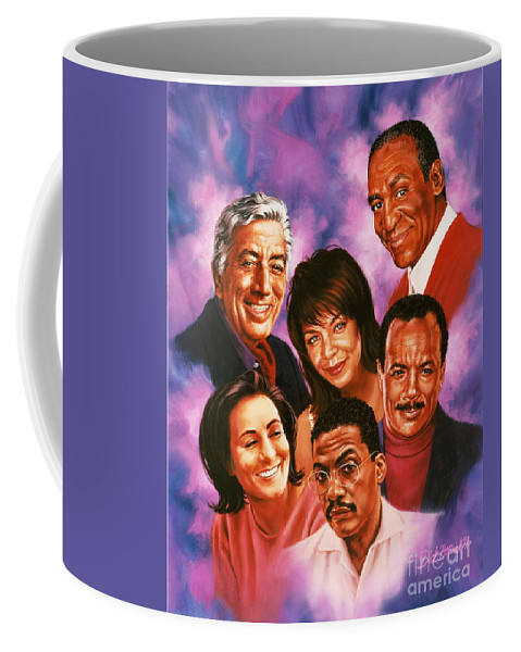 Music Coffee Mug featuring the painting American Music All Stars by Dick Bobnick