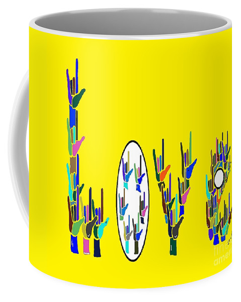 American Coffee Mug featuring the painting American Sign Language Love Hands by Eloise Schneider Mote