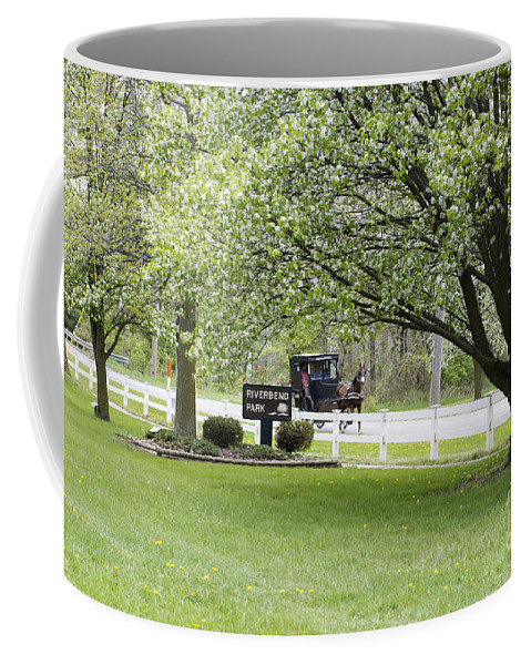 Amish Coffee Mug featuring the photograph Amish Buggy At Riverbend Park by David Arment