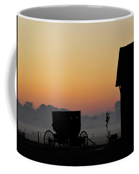 Amish Buggy Coffee Mug featuring the photograph Amish Buggy Before Dawn by David Arment