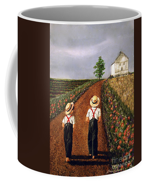 Lifestyle Coffee Mug featuring the painting Amish Road by Linda Simon