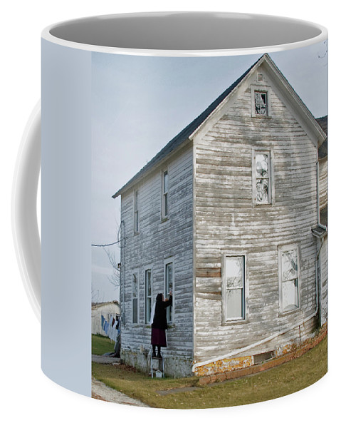 Amish Coffee Mug featuring the photograph Amish Window Washer by David Arment