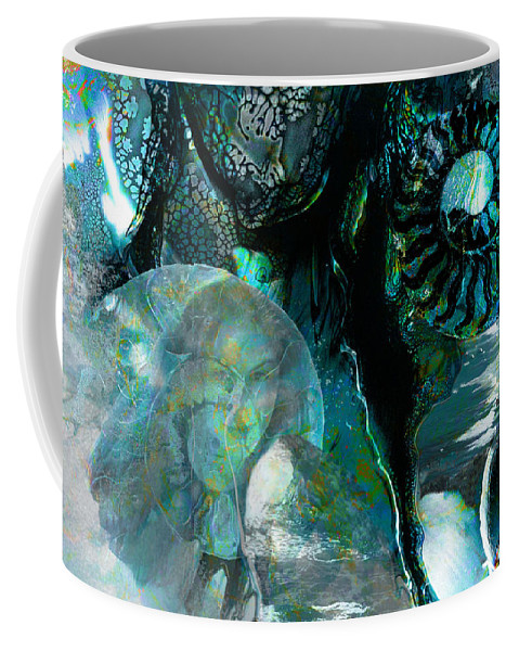 Ocean Coffee Mug featuring the digital art Ammonite Seascape by Lisa Yount