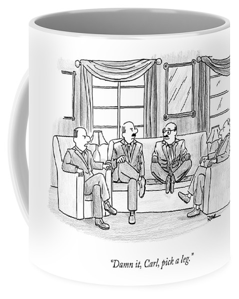 Men Coffee Mug featuring the drawing Among Three Other Men With Their Legs Crossed by Julian Rowe