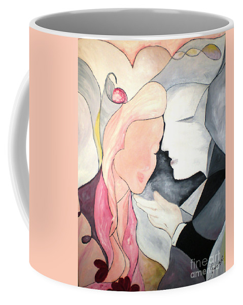 Abstract Coffee Mug featuring the painting Amor by Graciela Castro