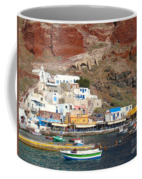 Amoudi Bay In Oia Coffee Mug featuring the photograph Amoudi Bay by Suzanne Oesterling