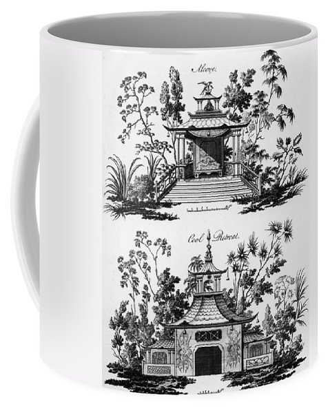 Garden Pavilion; Pagoda; Shelter; Arbour; Folly; Decorative; Chinois; Chinoiserie Coffee Mug featuring the drawing An Alcove And A Cool Retreat by Paul Decker