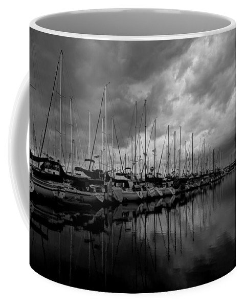 Dock Coffee Mug featuring the photograph An Approaching Storm - Black And White by Heidi Smith
