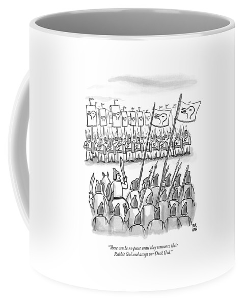 War Coffee Mug featuring the drawing An Army Lines Up For Battle by Paul Noth