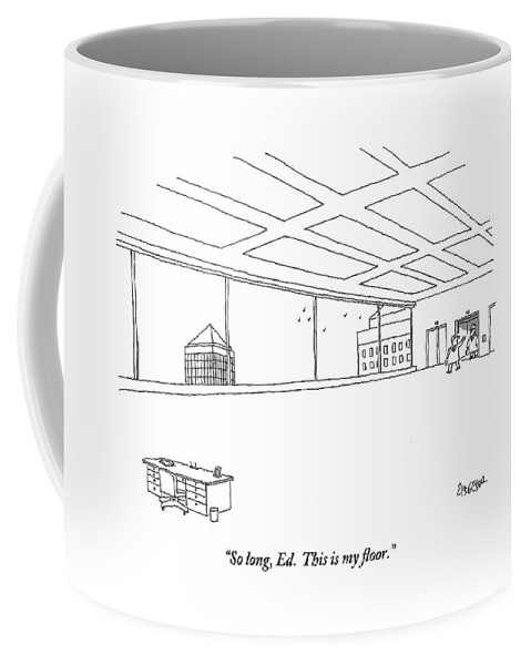 Offices Coffee Mug featuring the drawing An Elevator Opens Onto A Very Large Floor by Jack Ziegler