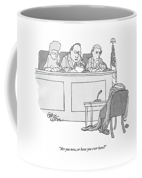 Courtrooms Judges Problems Coffee Mug featuring the drawing An Empty Suit Sits On A Chair In Court by Gahan Wilson