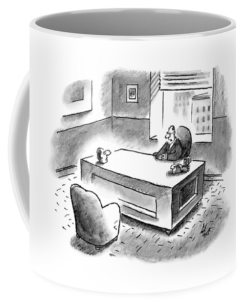 Executive Coffee Mug featuring the drawing An Executive Sits At His Desk And An Employee's by Frank Cotham