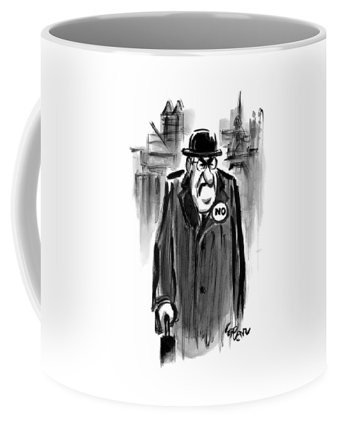 Captionless. No Coffee Mug featuring the drawing An Executive Wears A Pin That Says No by Lee Lorenz