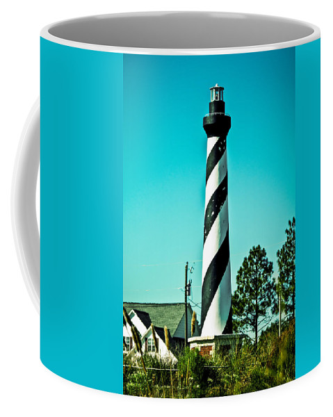 Stripes Coffee Mug featuring the photograph An Image Of Lighthouse In Small Town by Alex Grichenko
