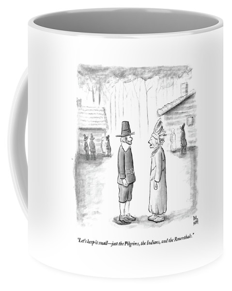 Thanksgiving Coffee Mug featuring the drawing An Indian Chief Speaks To A Pilgrim by Paul Noth