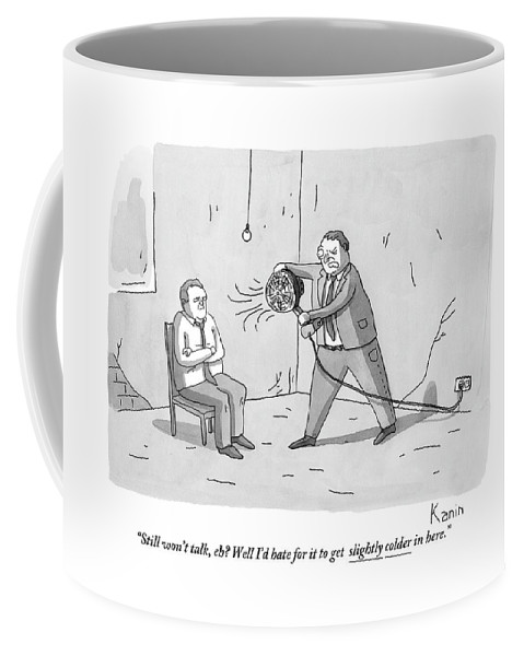 Interrogation Coffee Mug featuring the drawing An Interrogation Officer Points A Small Fan by Zachary Kanin