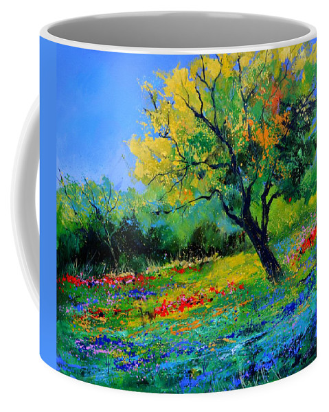 Landscape Coffee Mug featuring the painting An oak amid flowers in Texas by Pol Ledent