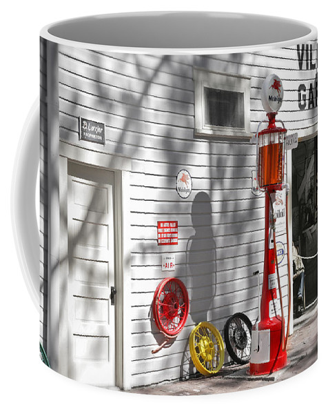 Garage Coffee Mug featuring the photograph An Old Village Gas Station by Mal Bray