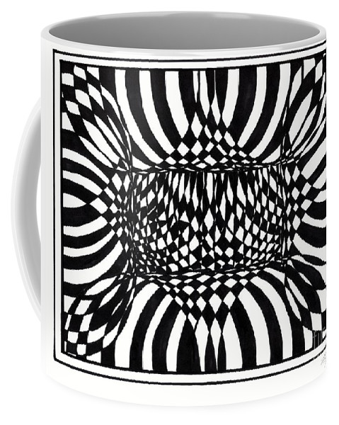 Abstract Coffee Mug featuring the painting An Optical Illusion by Myrtle Joy